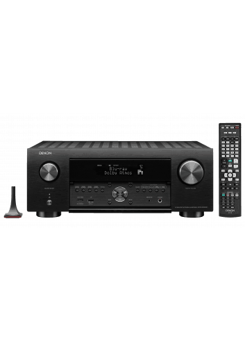 Sintoamplificatore AV 9.2 canali 4K Ultra HD con Audio 3D e HEOS, Denon AVR-X3600H, vista frontale con telcomando