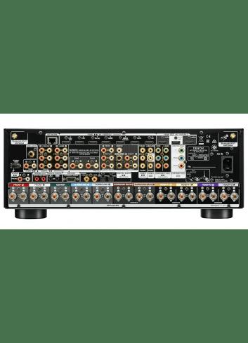 Amplificatore AV 11.2 canali 4K Ultra HD con Audio 3D e HEOS, Denon AVC-X6500H, vista pannello connessioni