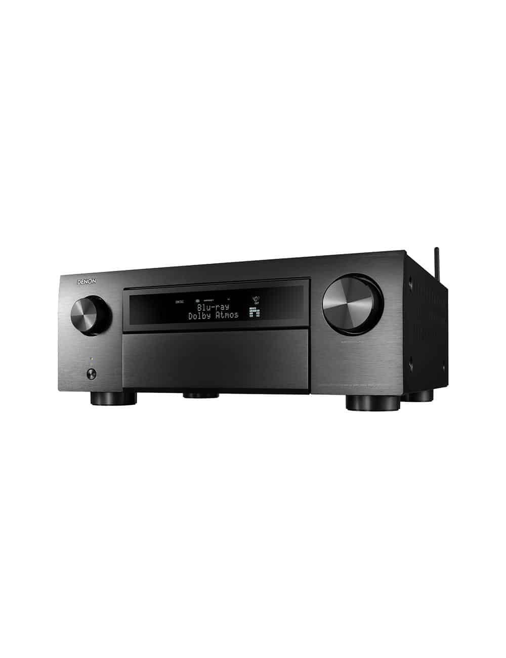 Amplificatore AV 11.2 canali 4K Ultra HD con Audio 3D e HEOS, Denon AVC-X6500H, vista frontale, finitura Nero
