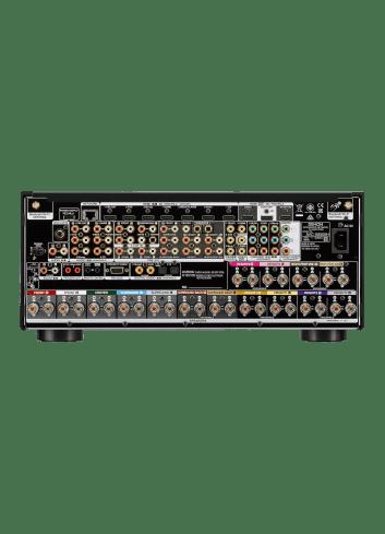 Amplificatore AV 13.2 canali 4K Ultra HD con Audio 3D e HEOS, Denon AVC-X8500H, vista posteriore pannello connessioni