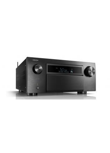 Amplificatore AV 13.2 canali 4K Ultra HD con Audio 3D e HEOS, Denon AVC-X8500H, vista frontale, finitura Nero