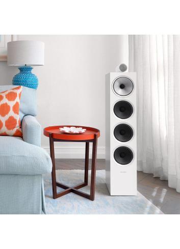 diffusori acustici da pavimento per hifi e home theater, Bowers & Wilkins 702, finitura bianco satinato in ambiente
