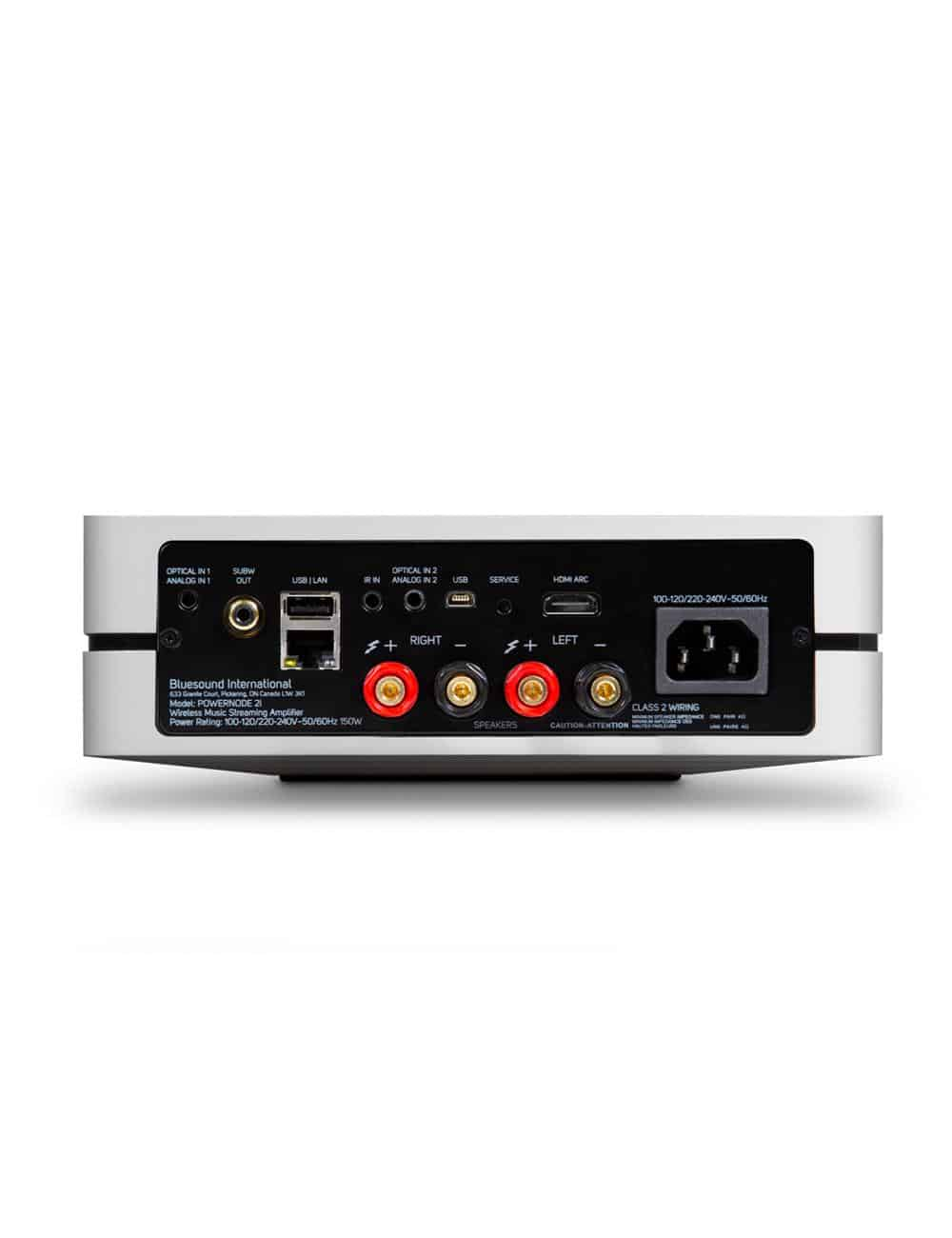 amplificatore streaming HiFi con multiroom, Bluesound Powernode 2i HDMI, vista pannello posteriore connessioni, finitura bianco
