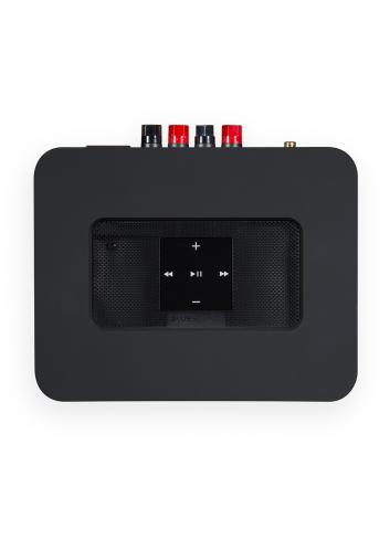 amplificatore streaming HiFi con multiroom, Bluesound Powernode 2i HDMI, vista pannello superiore, finitura nero