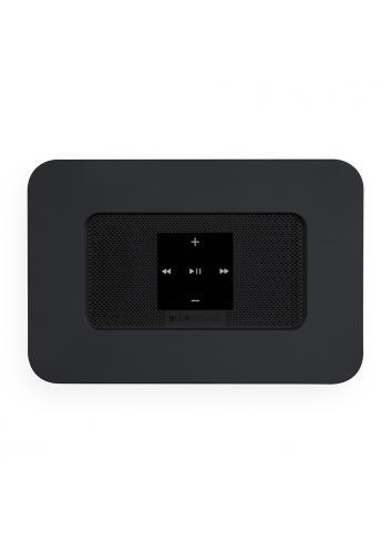 streamer musicale wireless HiFi con multiroom, Bluesound Node 2i HDMI, vista superiore pulsanti, finitura nero