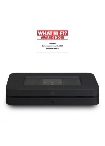streamer musicale wireless HiFi con multiroom, Bluesound Node 2i HDMI, vista frontale, finitura nero