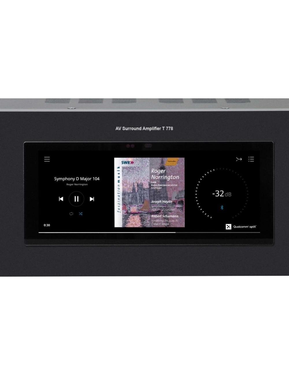 sintoamplificatore audio video multicanale, NAD T 778, vista frontale dettaglio display