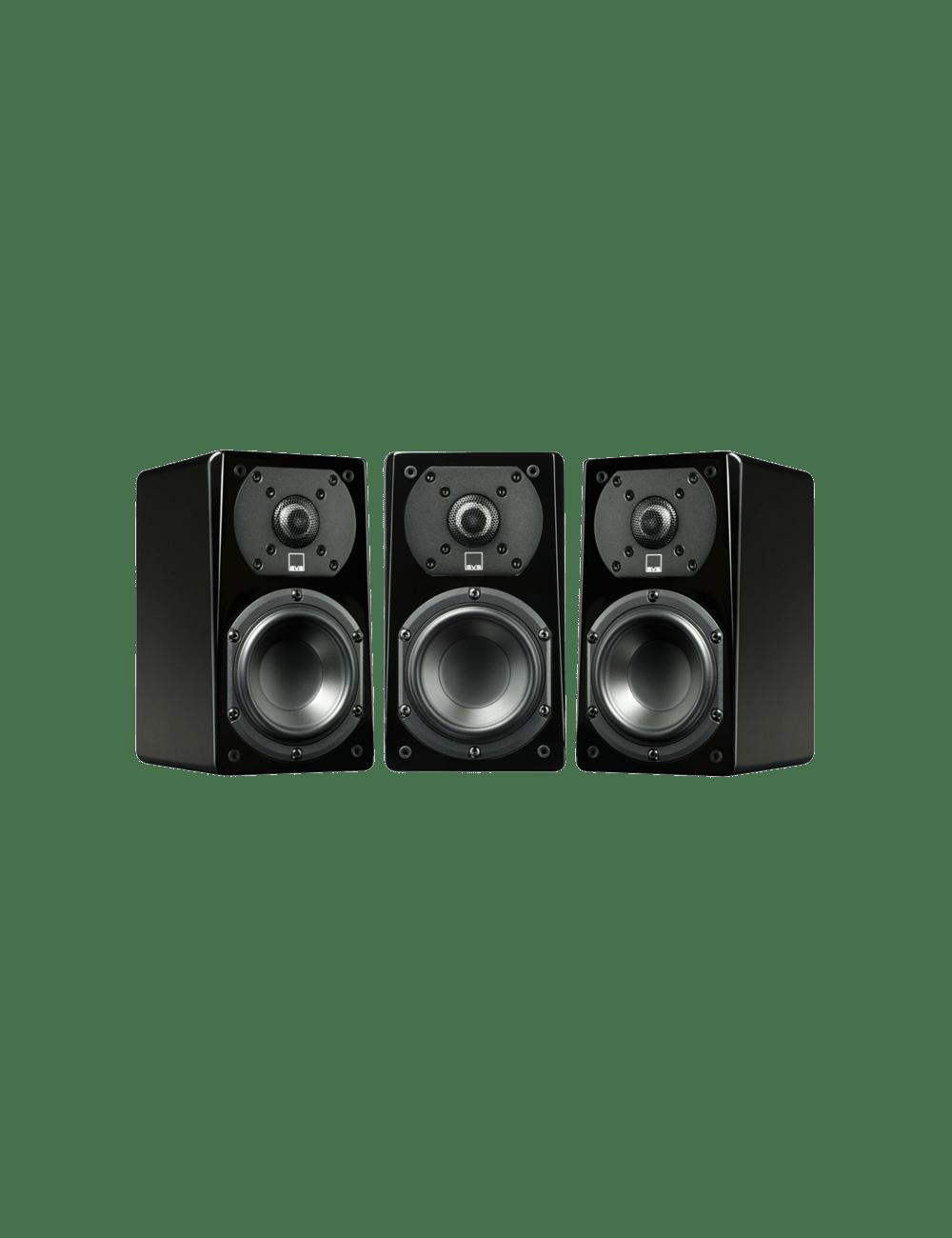 confezione da tre diffusori acustici da stand o da scaffale per hifi e home theater SVS Prime Satellite, finitura gloss black
