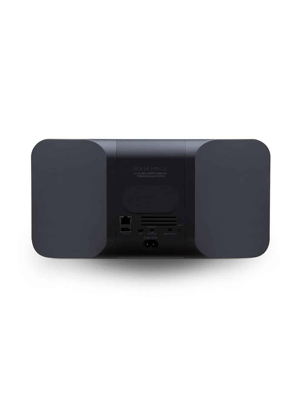 diffusore wireless streaming HiFi, Bluesound Pulse Mini 2i, vista posteriore pannello connessioni, finitura nero