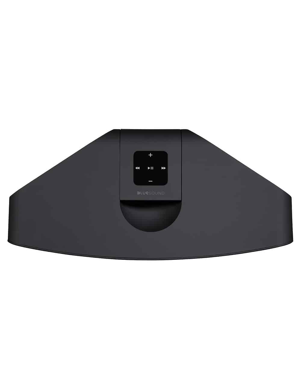 diffusore wireless streaming HiFi, Bluesound Pulse 2i, vista pannello di controllo, finitura nero