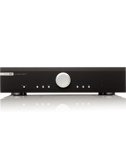 amplificatore integrato HiFi con stadio phono MM e DAC, Musical Fidelity M3si, vista frontale, finitura Black