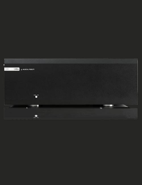 finale di potenza stereofonico completamente bilanciato , Musical Fidelity M8s-500s, vista frontale, finitura Nero