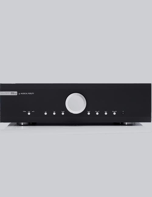 amplificatore integrato dual mono con DAC, 220W per canale, Musical Fidelity M6si, vista frontale, finitura Black