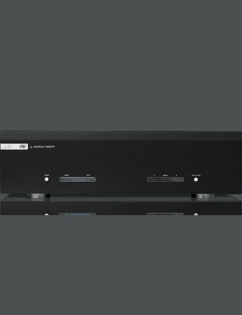 finale di potenza stereofonico da 230W, Musical Fidelity M6s PRX, vista frontale, finitura Nero