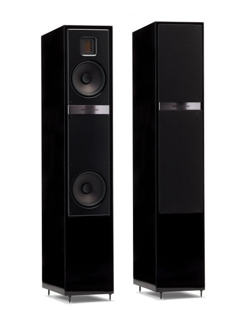 diffusori da pavimento per HiFi e Home Theater, Martin Logan Motion 20i, vista frontale coppia di diffusori finitura Black Gloss