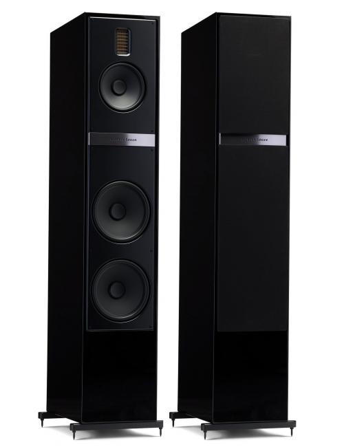 diffusori da pavimento per HiFi e Home Theater, Martin Logan Motion 60i, vista frontale coppia di diffusori finitura Black Gloss