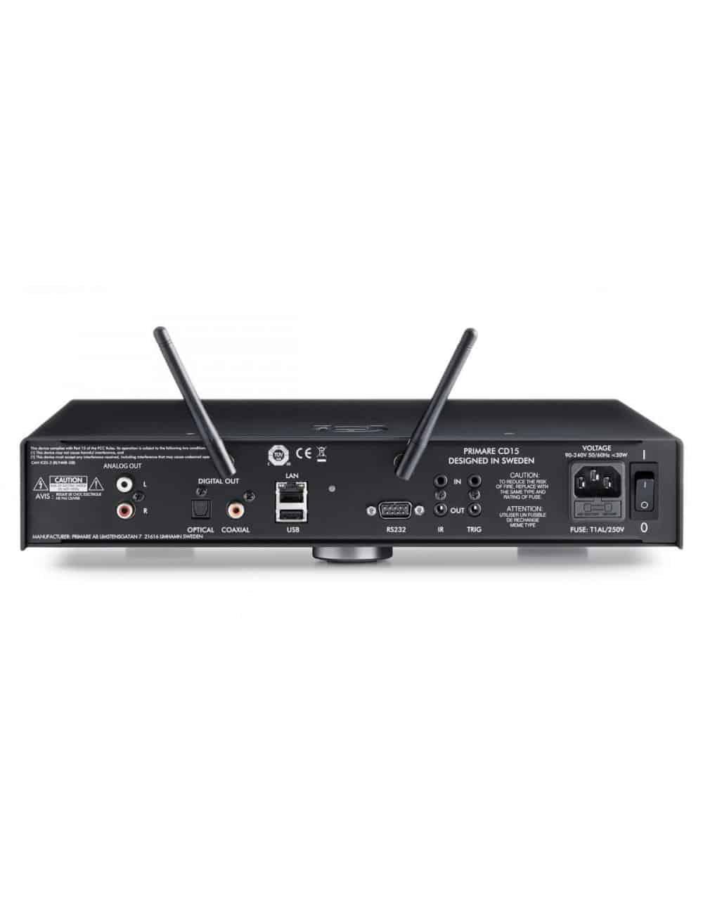 lettore multimediale digitale, lettore CD e streamer HiFI, Primare CD15 Prisma, pannello connessioni