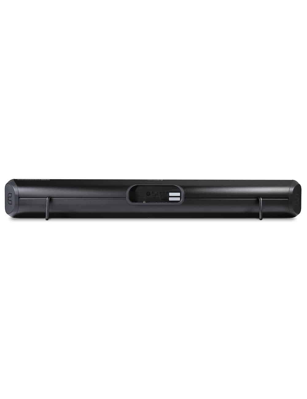 soundbar wireless streaming HiFi, Bluesound Soundbar 2i, vista posteriore, finitura nero