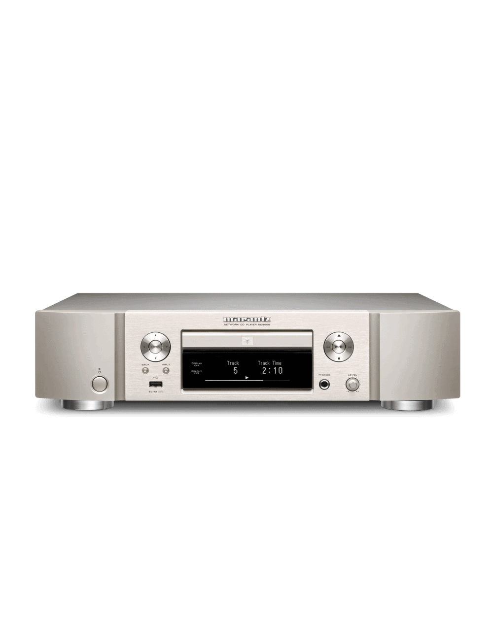 lettore cd e di rete HiFi Marantz ND8006 a due canali con HEOS streaming, finitura Silver Gold, frontale