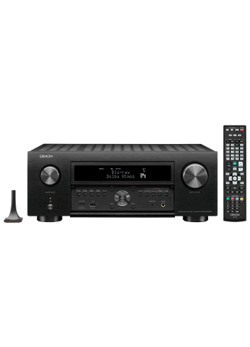 Sintoamplificatore AV 11.2 canali 8K Ultra HD con Audio 3D e HEOS, Denon AVR-X6700H, vista frontale, finitura Black