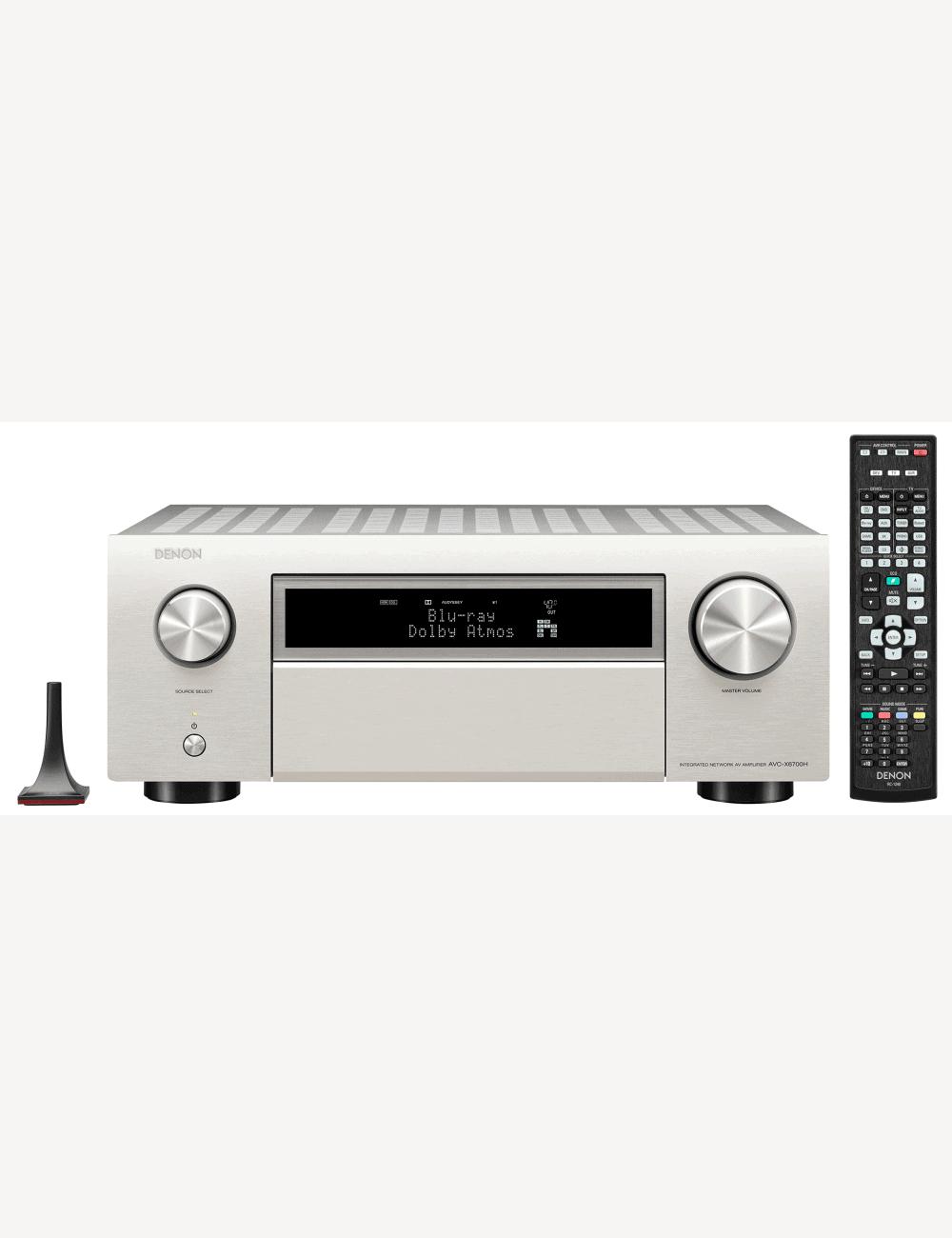 Sintoamplificatore AV 11.2 canali 8K Ultra HD con Audio 3D e HEOS, Denon AVR-X6700H, vista frontale finitura Silver