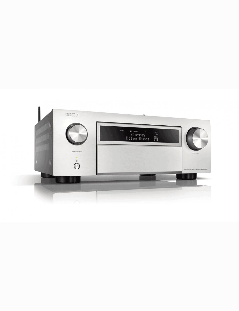 Sintoamplificatore AV 11.2 canali 8K Ultra HD con Audio 3D e HEOS, Denon AVR-X6700H, finitura Silver