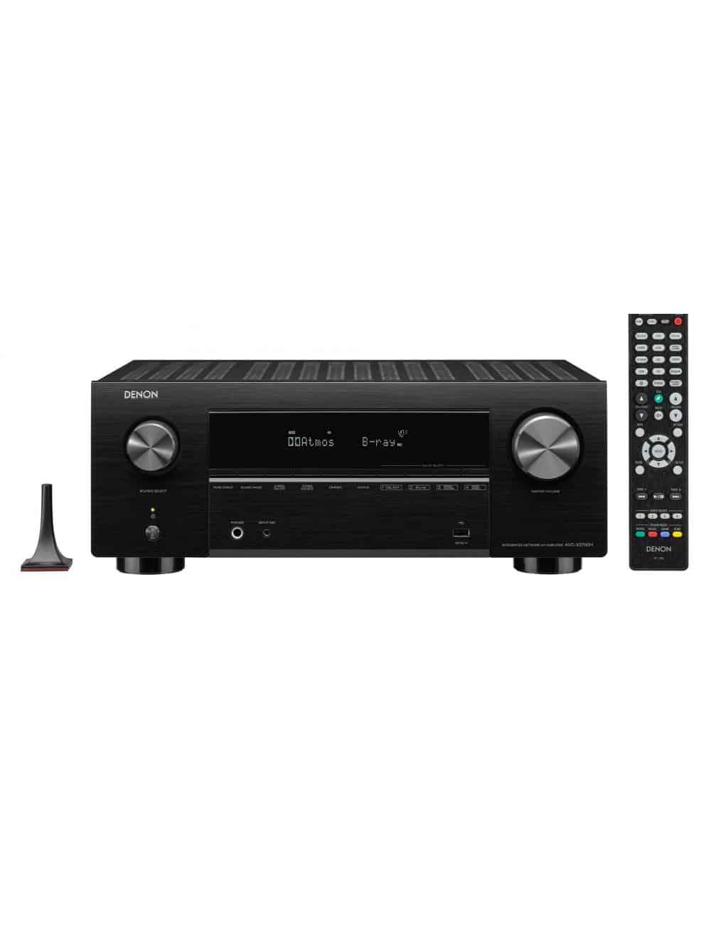 Sintoamplificatore AV 9.2 canali 8K Ultra HD con Audio 3D e HEOS, Denon AVC-X3700H, vista frontale