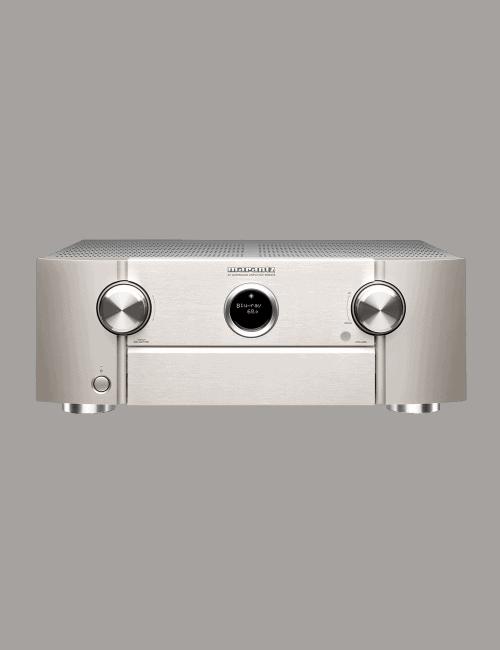 Amplificatore audio video Marantz SR6015 a 9.2 Canali 8K Ultra HD con HEOS, finitura Silver Gold