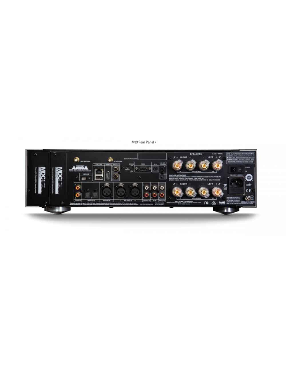 amplificatore integrato HiFi, NAD M33 BluOS Streaming DAC Amplifier, serie Master, vista posteriore pannello connessioni