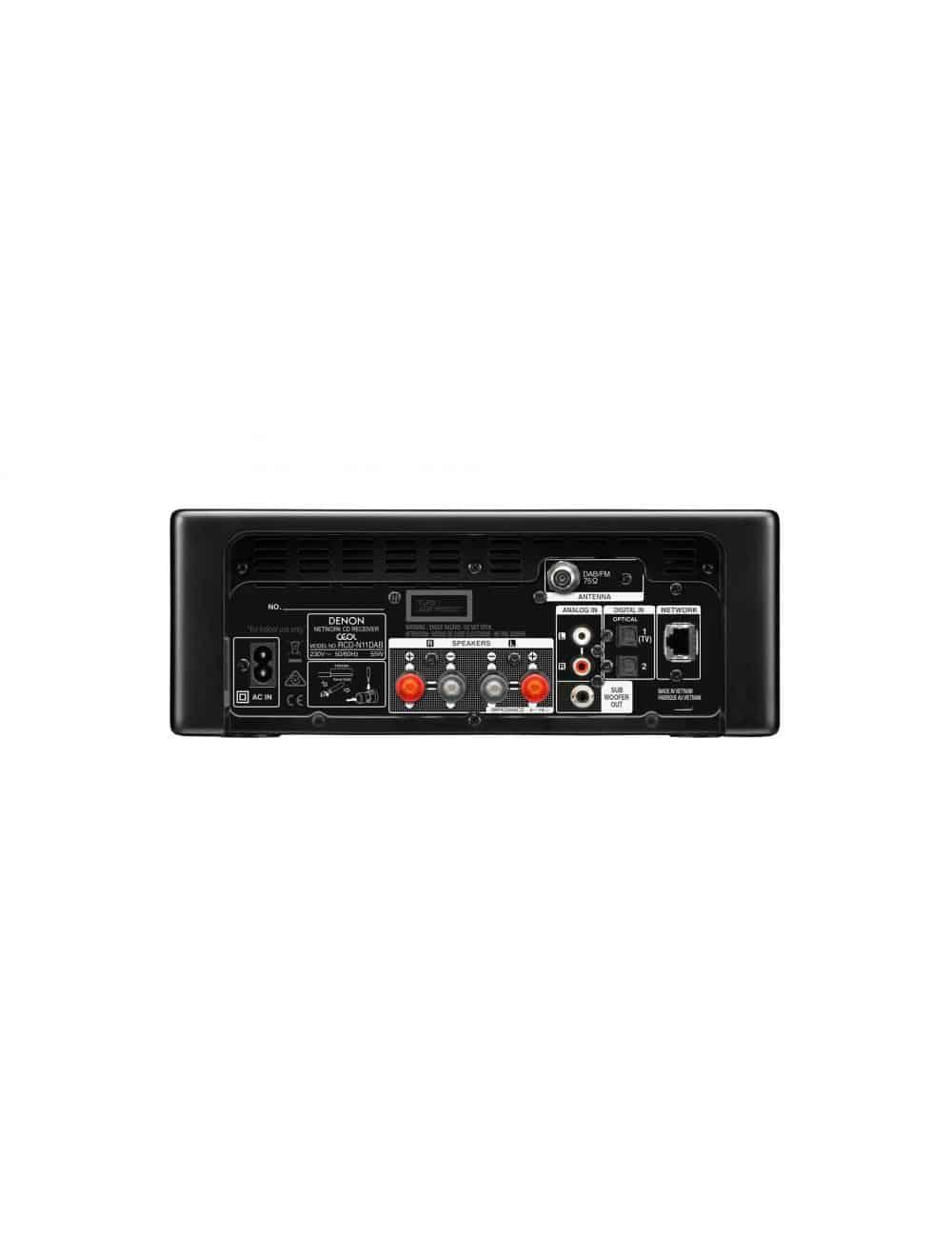Denon CEOL N11DAB, sistema audio amplificato con Sintonizzatore DAB+ e FM -Lettore CD, Potenza 2x 30 W, pannello posteriore