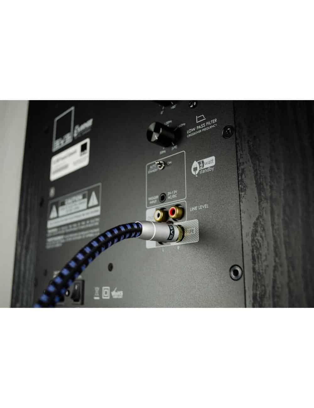 cavo di segnale per subwoofer con terminazioni RCA HiFI, SVS SoundPath RCA Subwoofer, dettaglio connessione LFE