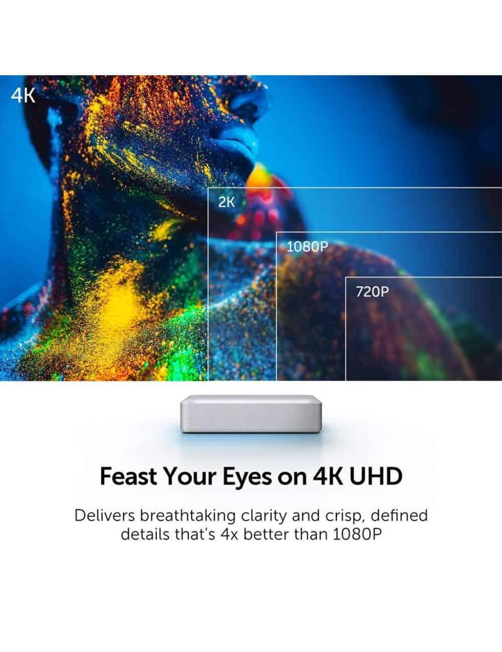 proiettore laser a tiro ultracorto home cinema 4K HDR, Vava 4K UST Laser TV, risoluzione UHD