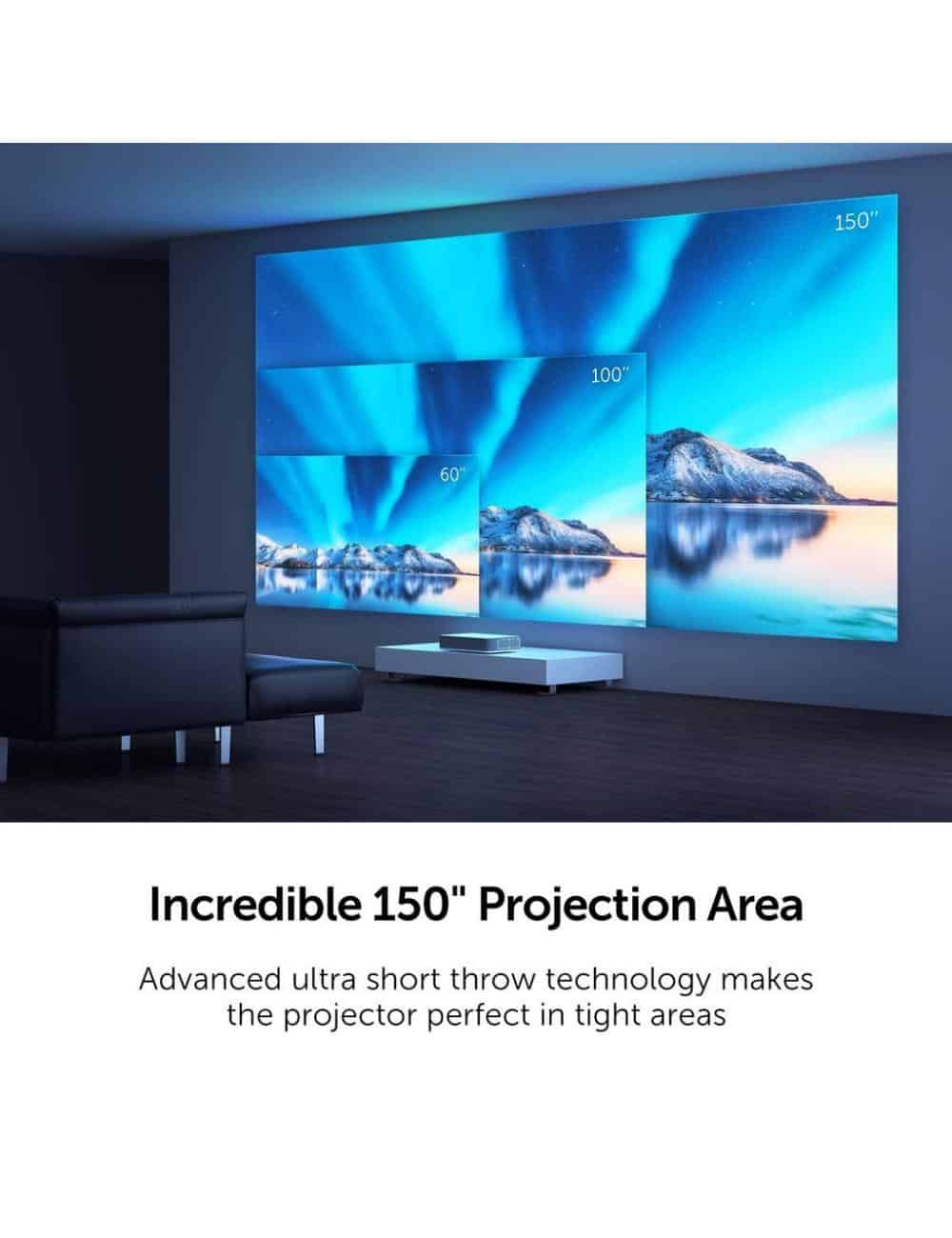 proiettore laser a tiro ultracorto home cinema 4K HDR, Vava 4K UST Laser TV, fino a 150 pollici