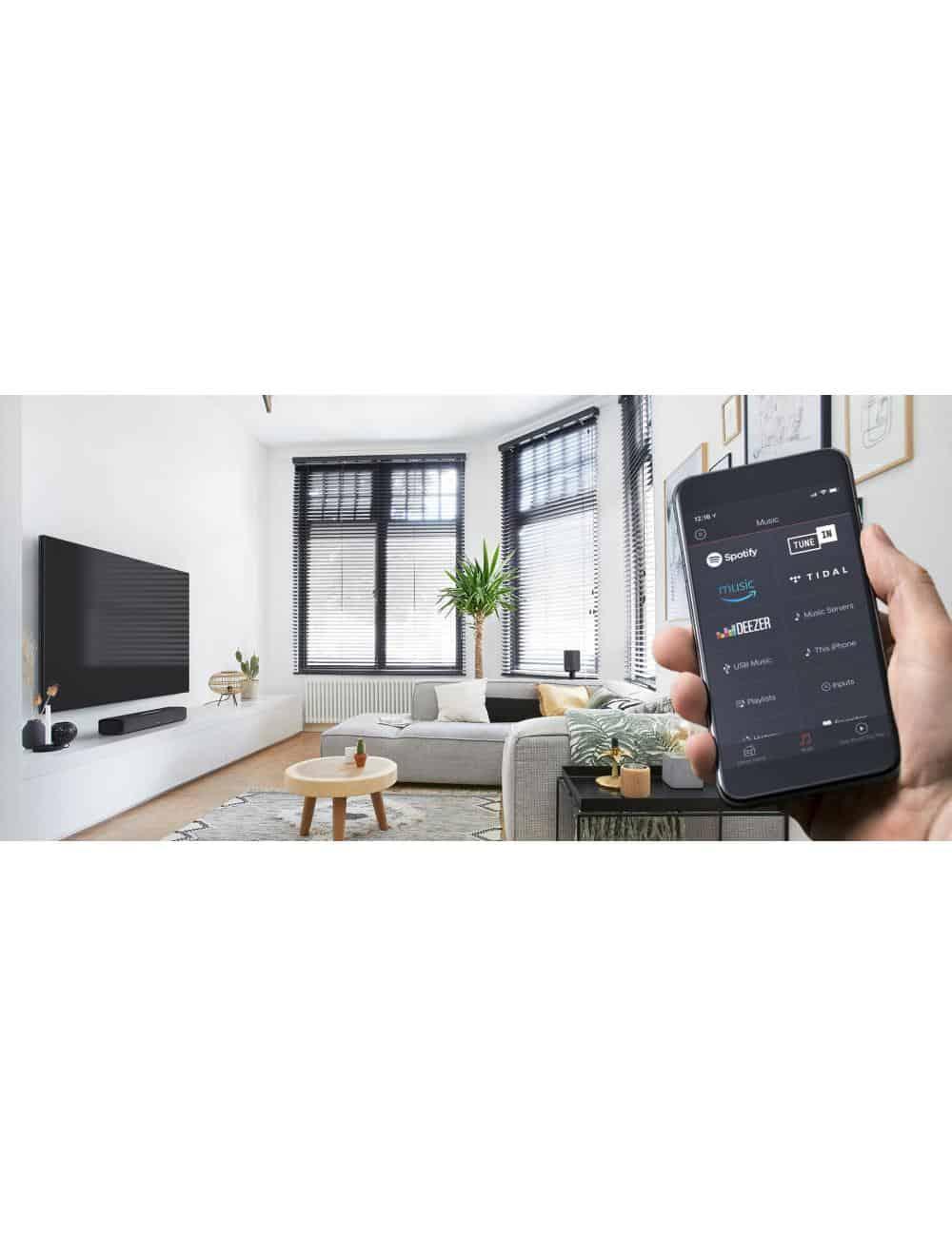 soundbar wireless super compatta, Denon Home Sound Bar 550, Dolby ATMOS e DTS: X, Heos, Bluetooth, controllo via app