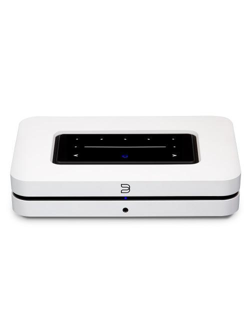 streamer musicale wireless HiFi con multiroom, nuovo Bluesound Node (N130), vista frontale, finitura bianco