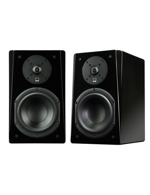 coppia di diffusori acustici da stand o da scaffale per hifi e home theater, SVS Prime Bookshelf, finitura gloss black