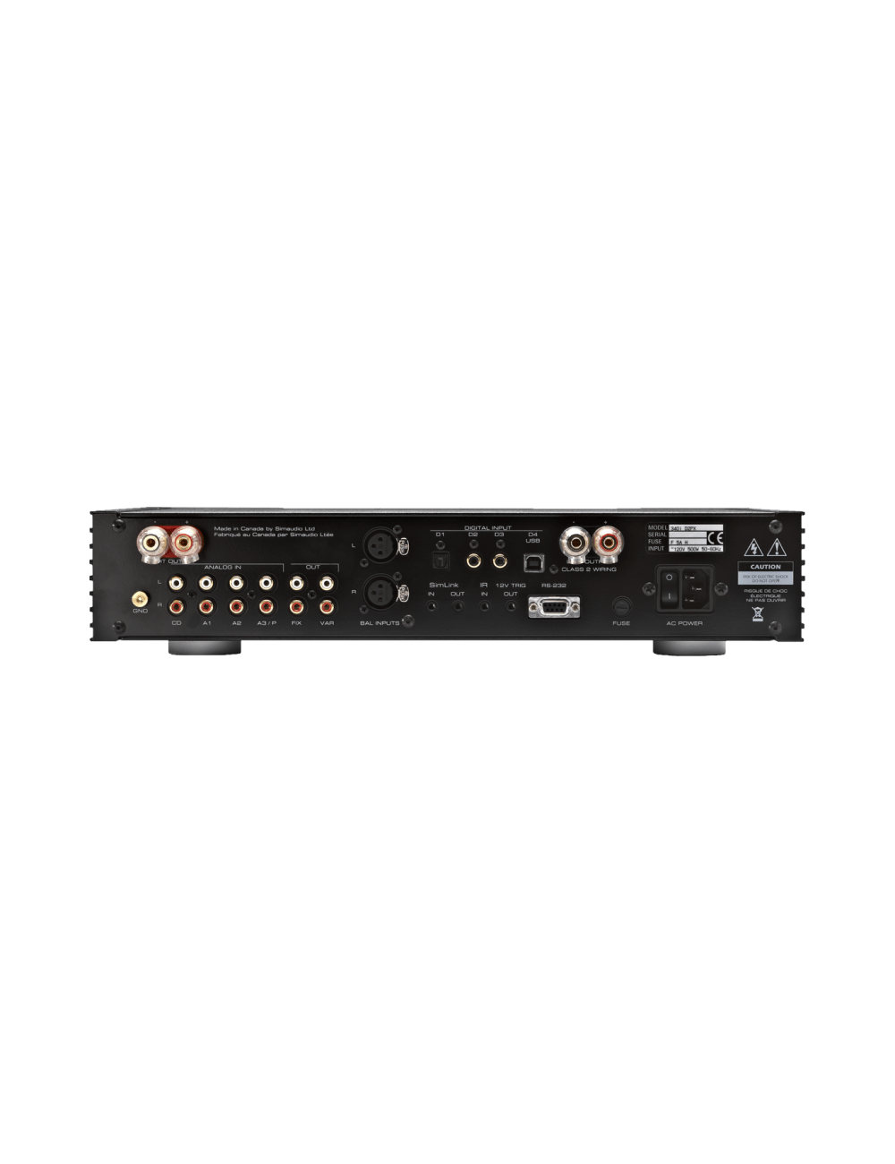 amplificatore integrato HiFi Simaudio Moon 340i X, pannello posteriore