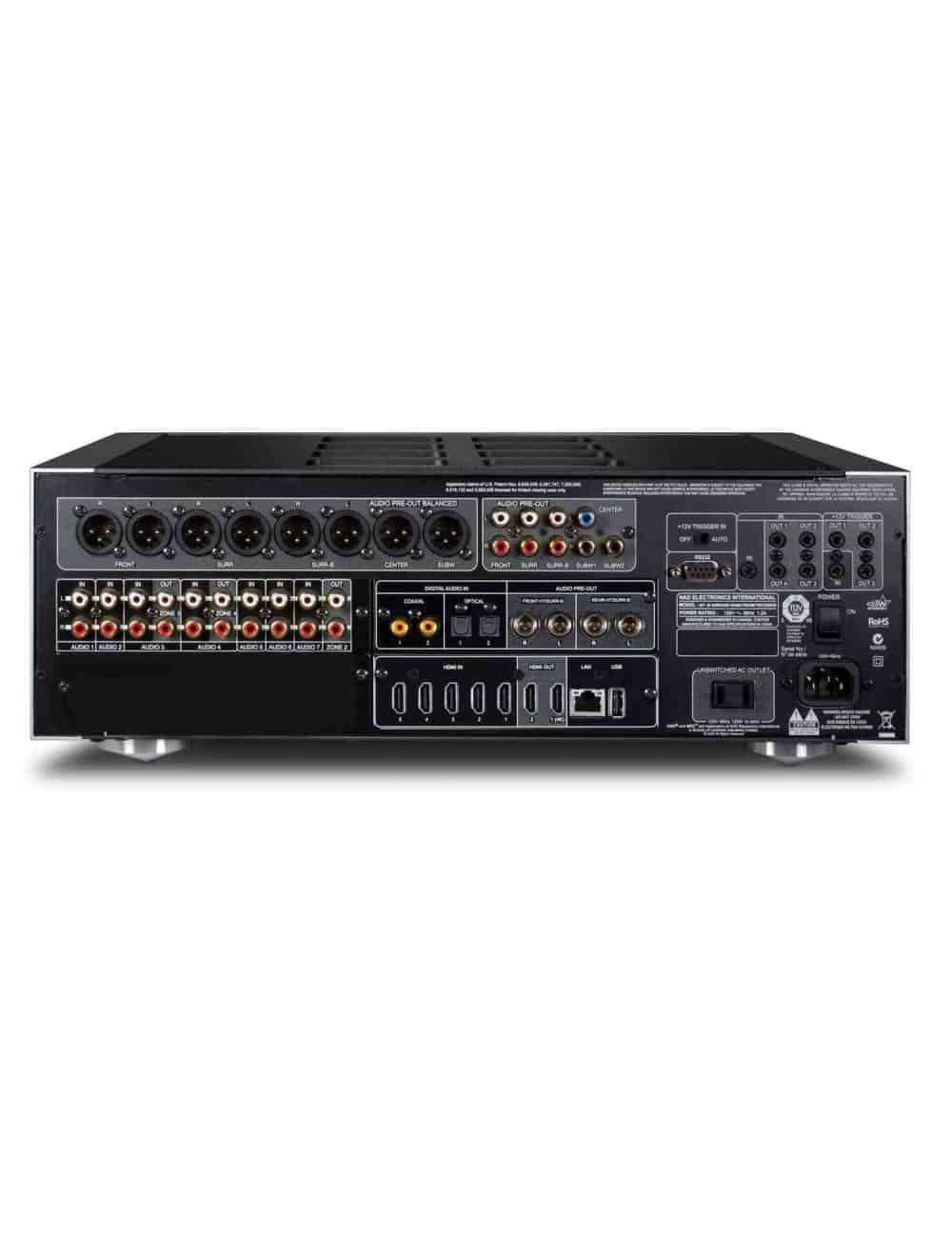 preamplificatore audio video multicanale, NAD M17 v2, serie Masters, vista pannello posteriore