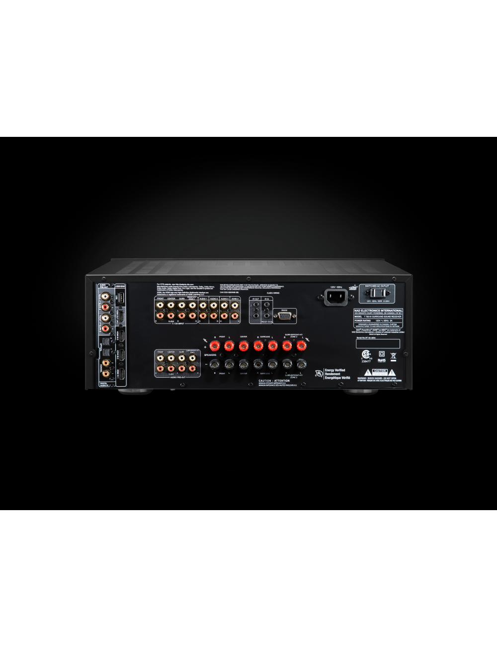 sintoamplificatore audio video multicanale, NAD T 758 v3, vista pannello connessioni