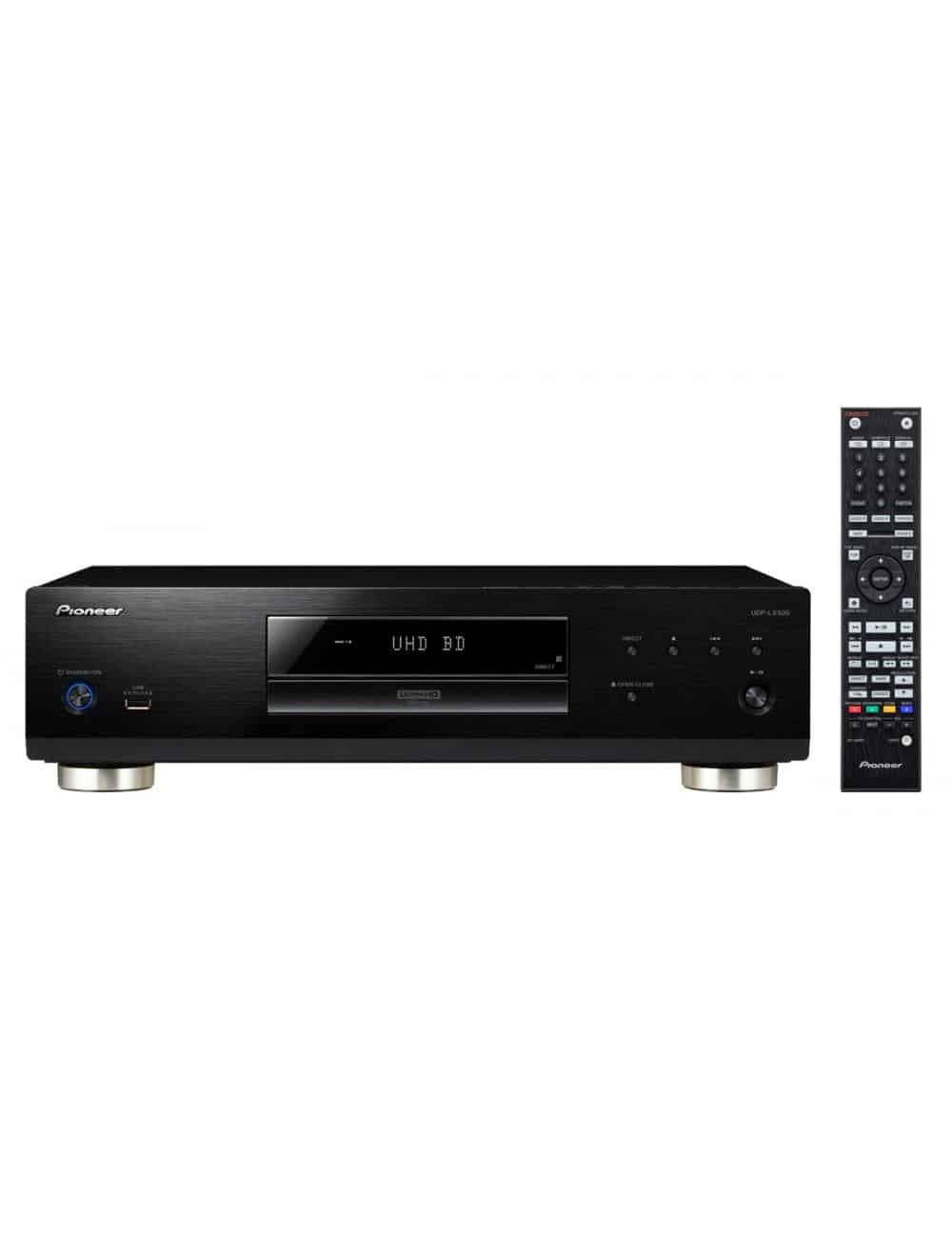 lettore universale di dischi UHD BD, BD, DVD e CD per HiFi ed Home Cinema, Pioneer UDP-LX500, vista frontale con teelcomando