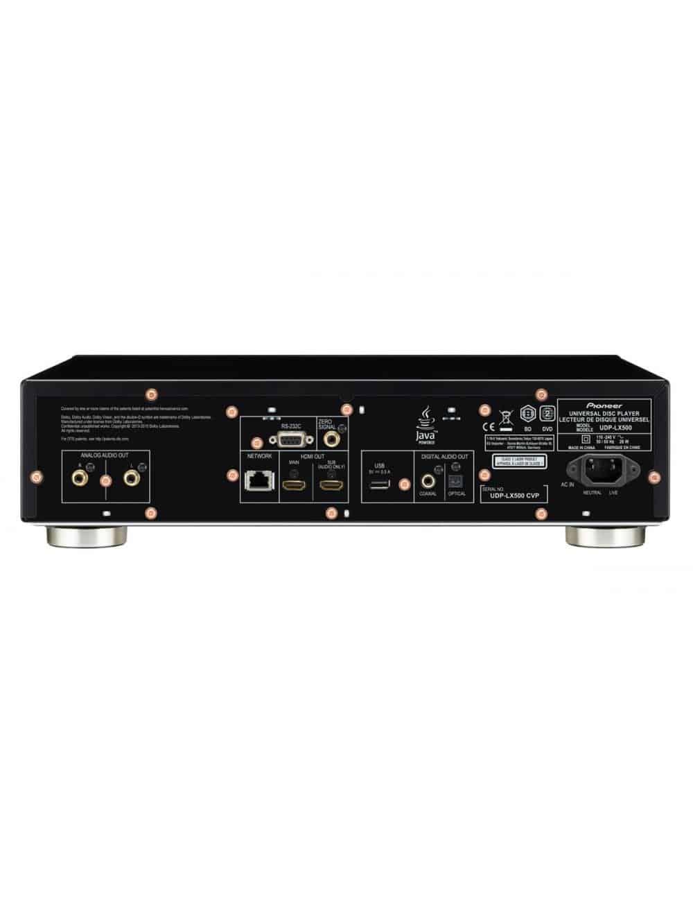 lettore universale di dischi UHD BD, BD, DVD e CD per HiFi ed Home Cinema, Pioneer UDP-LX500, vista pannello connessioni