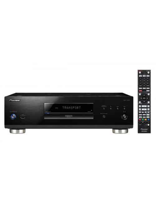 lettore universale di dischi UHD BD, BD, DVD e CD per HiFi ed Home Cinema, Pioneer UDP-LX800, vista frontale con telecomando