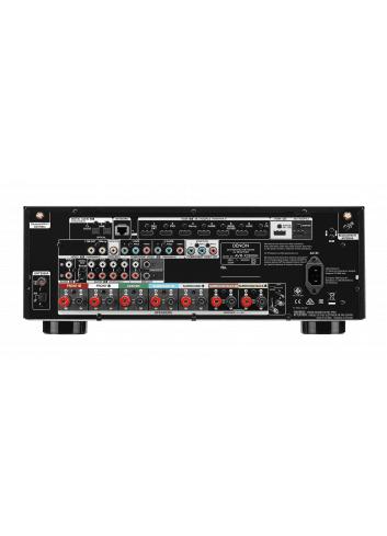 Sintoamplificatore AV 7.2 canali 4K Ultra HD con Audio 3D e HEOS, Denon AVR-X2600H, vista pannello connessioni
