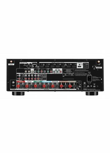 Sintoamplificatore AV 7.2 canali 4K Ultra HD con Audio 3D e HEOS, Denon AVR-X2600H DAB, vista pannello connessioni
