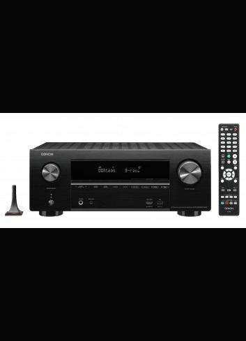 Sintoamplificatore AV 7.2 canali 4K Ultra HD con Audio 3D e HEOS, Denon AVR-X2600H DAB, vista frontale telecomando e microfono