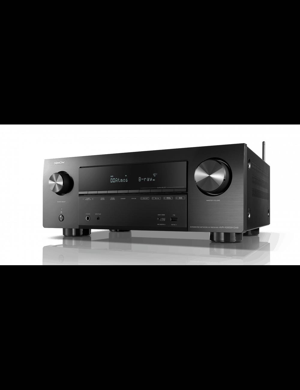 Sintoamplificatore AV 7.2 canali 4K Ultra HD con Audio 3D e HEOS, Denon AVR-X2600H DAB, vista frontale