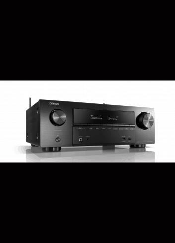 Sintoamplificatore AV 7.2 canali 4K Ultra HD con Audio 3D e HEOS, Denon AVR-X1600H, vista frontale destra