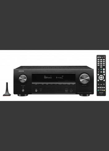 Sintoamplificatore AV 7.2 canali 4K Ultra HD con Audio 3D e HEOS, Denon AVR-X1600H, vista frontale con telecomando e microfono