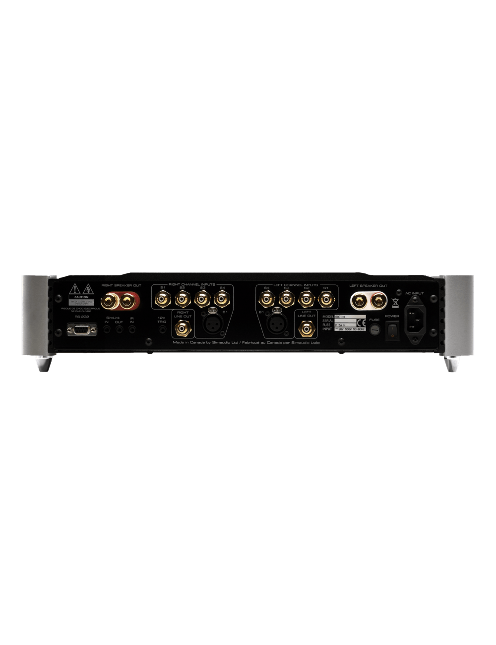 amplificatore integrato stereofonico HiFi High End Simaudio Moon 600i, finitura black, pannello connessioni