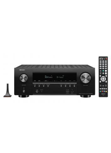 Sintoamplificatore AV Denon AVR-S950H, 7.2 canali con upscaling 4K Ultra-HD, vista frontale telecomando e microfono